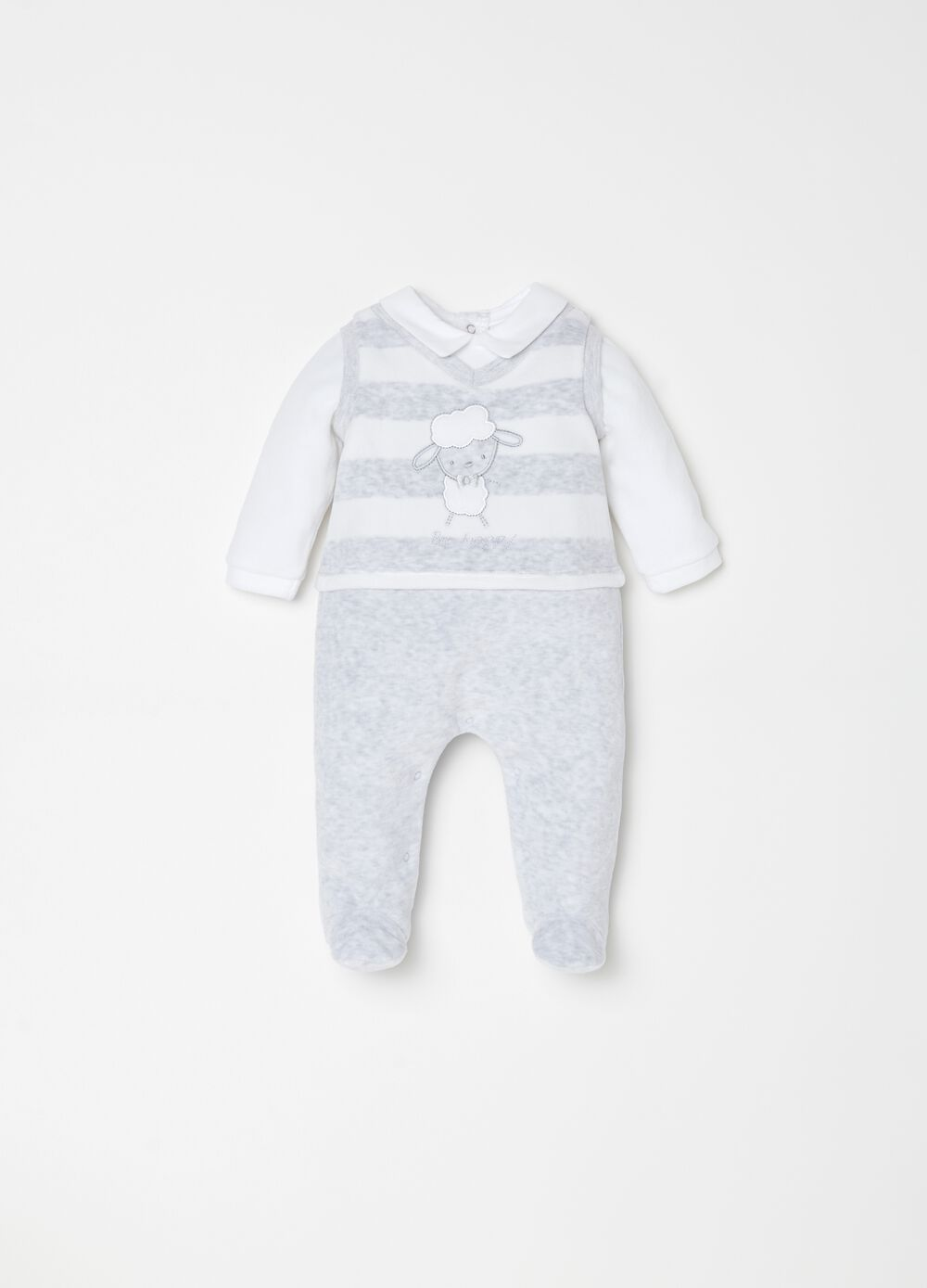 Onesie with feet, embroidery and stripes