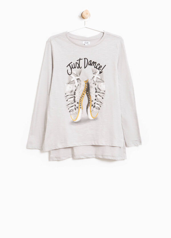 Printed T-shirt with diamantés and studs | OVS