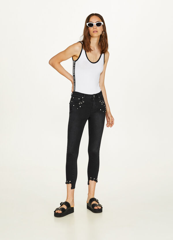 Cotton crop top with print and stretch bands