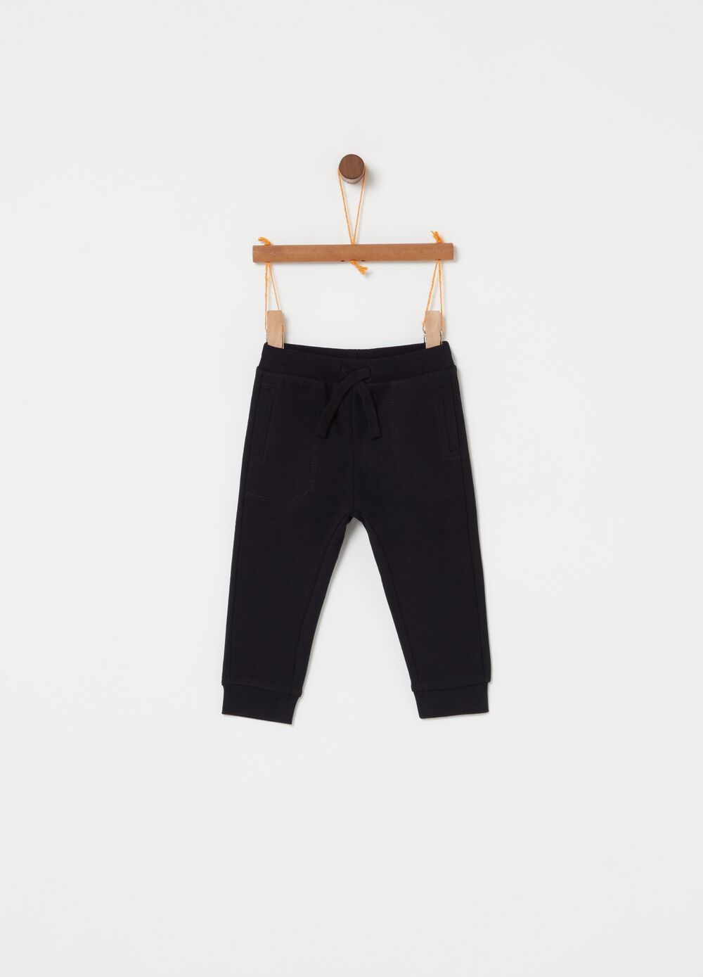 Trousers in 100% cotton fleece with pockets