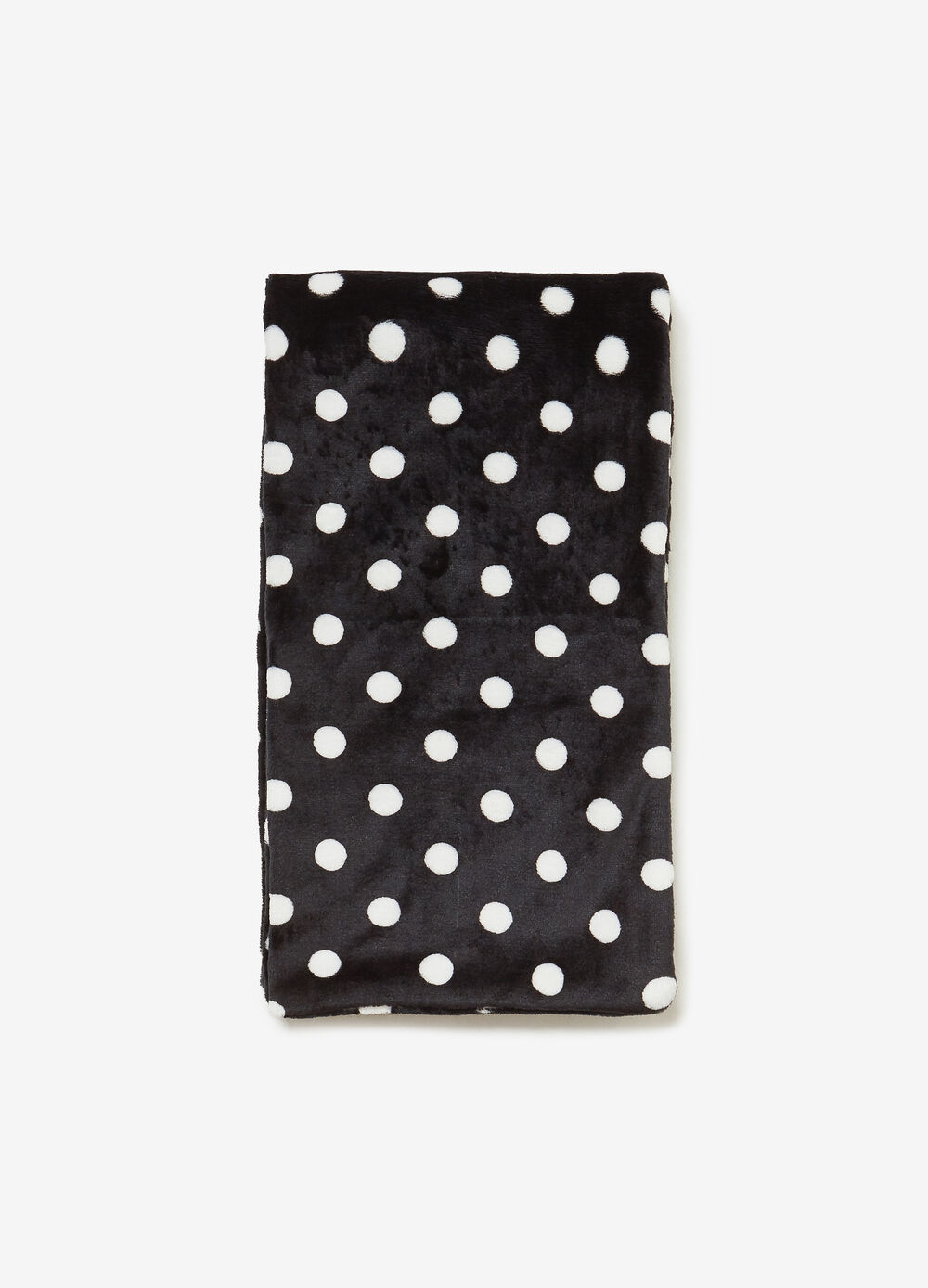Faux fur scarf with polka dots
