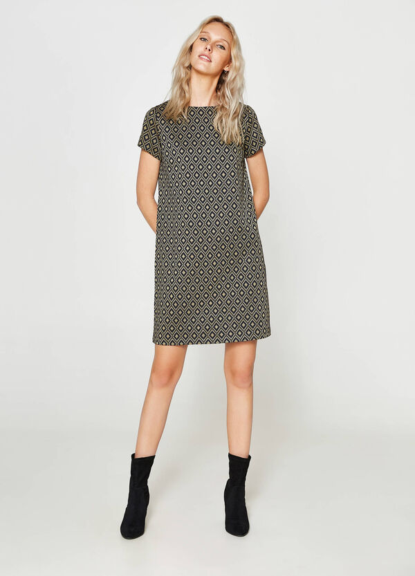 Stretch dress with jacquard and lurex | OVS