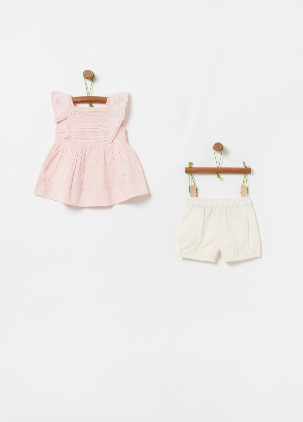 Top and shorts set in 100% organic cotton