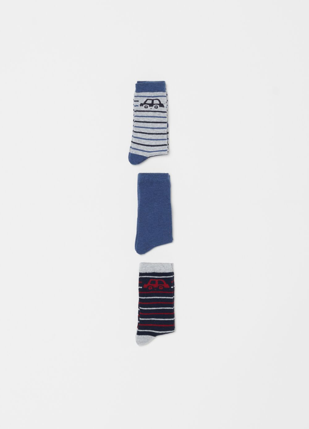 Three-pair pack long stretch socks with stripes