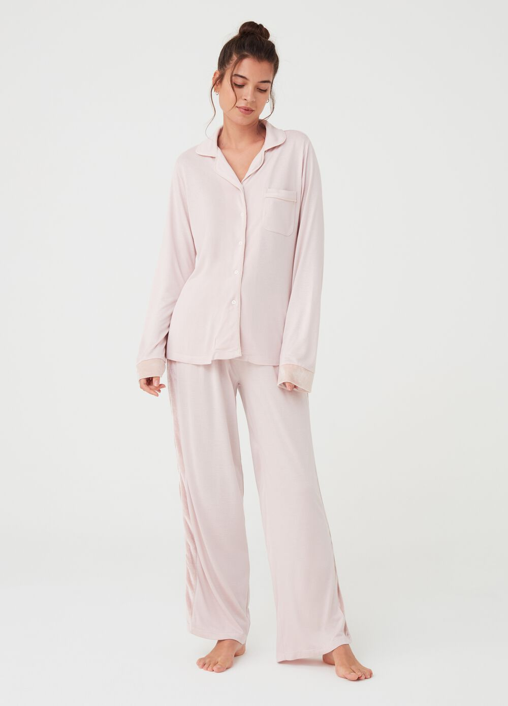 Long 100% viscose pyjama trousers