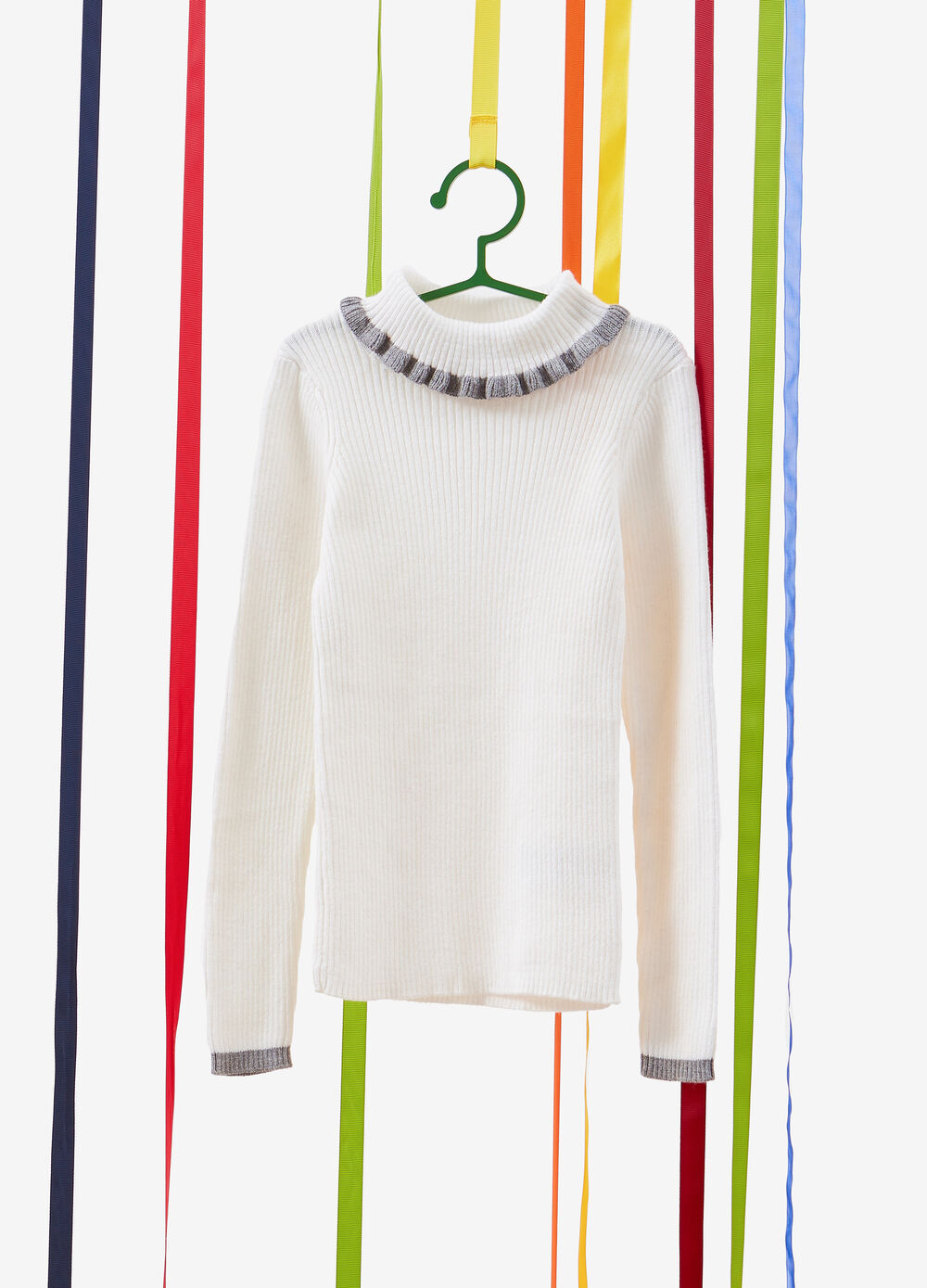 Cashmere and cotton pullover with high neck