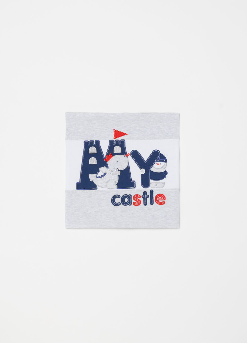 Fleece blanket with embroidered applications