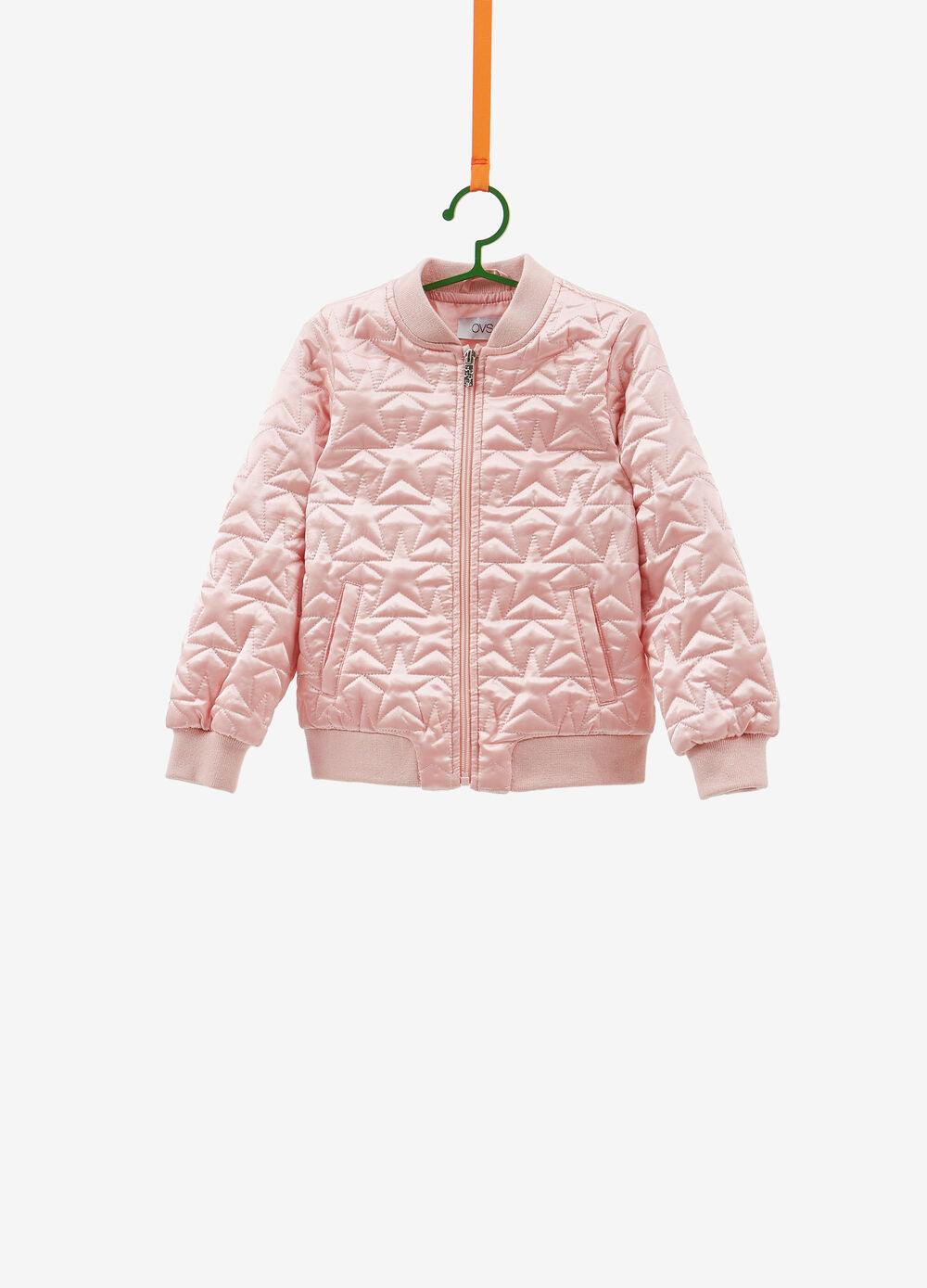 Bomber jacket with star weave and glitter ribbing