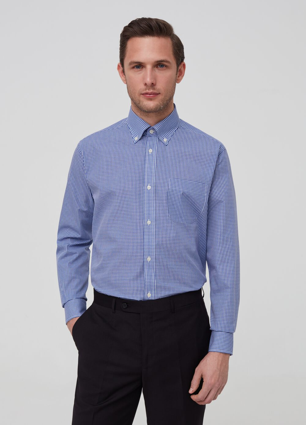 Regular-fit shirt with micro check pattern
