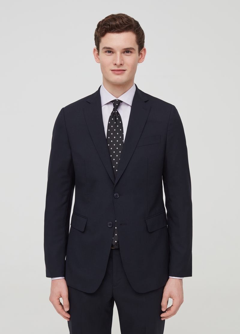 Slim-fit suit in stretch 100% natural wool image number null