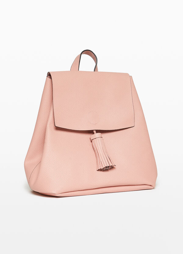 Unlined backpack with tassel