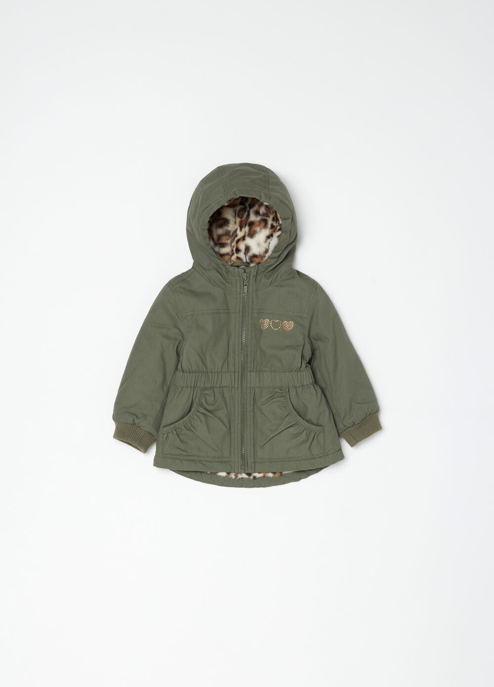 Parka with hearts diamantés and pockets