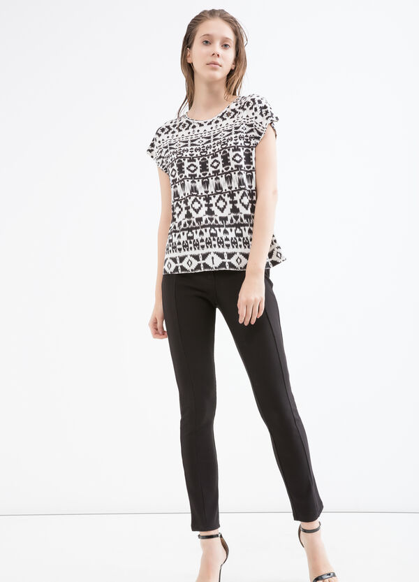 Patterned T-shirt in viscose   OVS