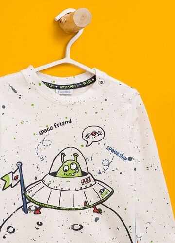 Cotton T-shirt with maxi space print