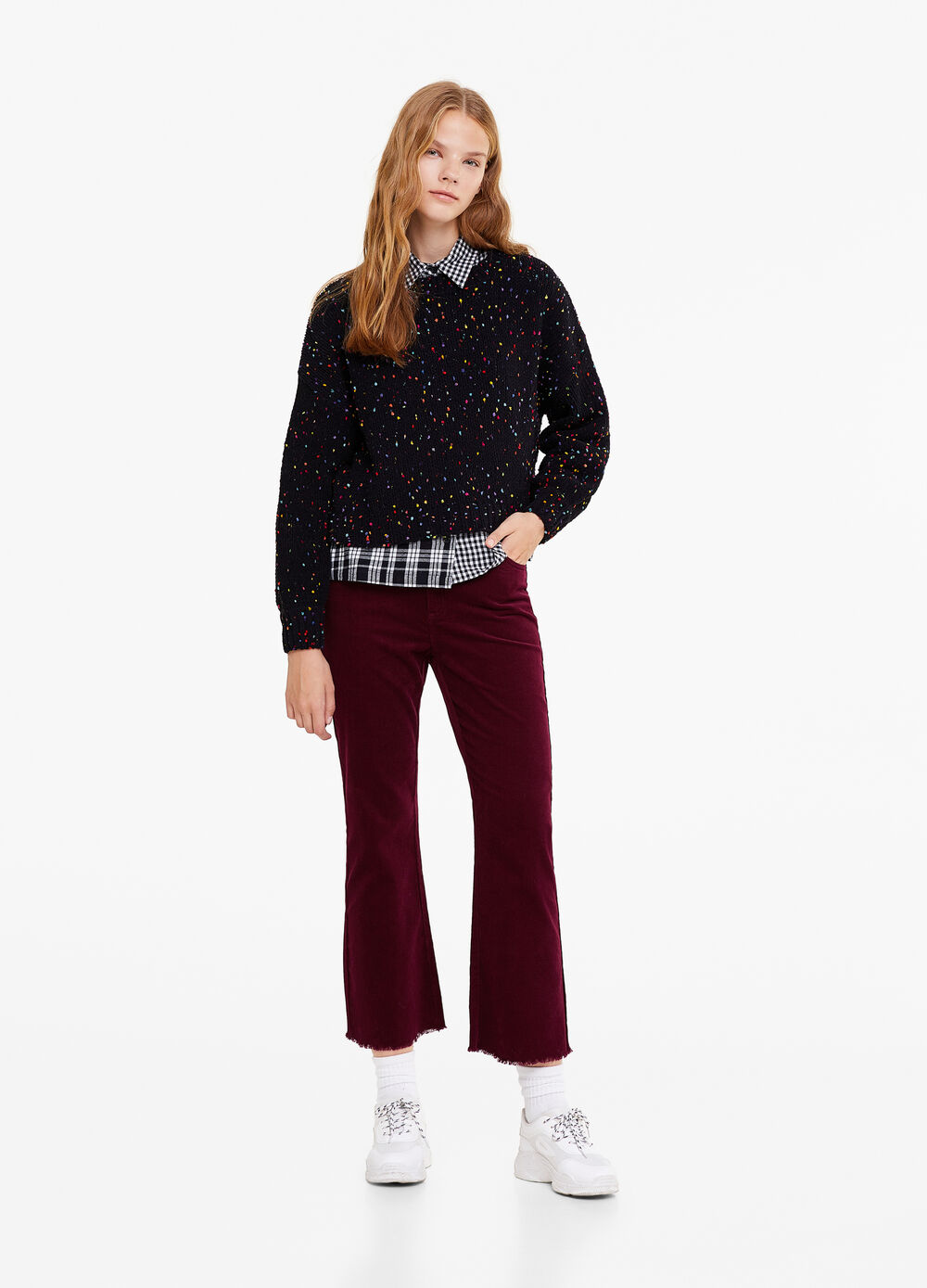 100% cotton bell-bottom trousers