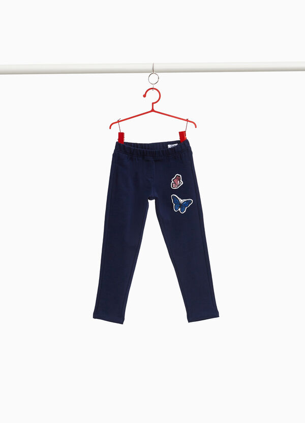 Stretch cotton trousers with butterfly patches