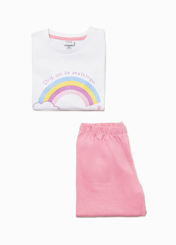 Cotton pyjamas with rainbow print