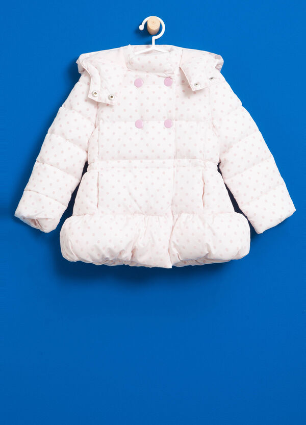 Jacket with polka dot pattern and hood | OVS