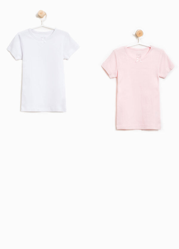 Two-pack organic cotton T-shirts with bow | OVS