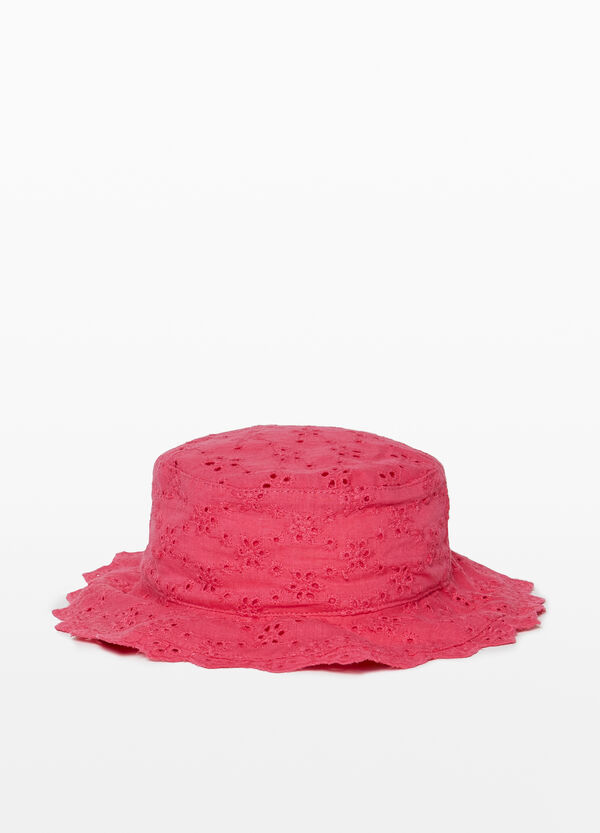 Cotton fishing hat with floral embroidery