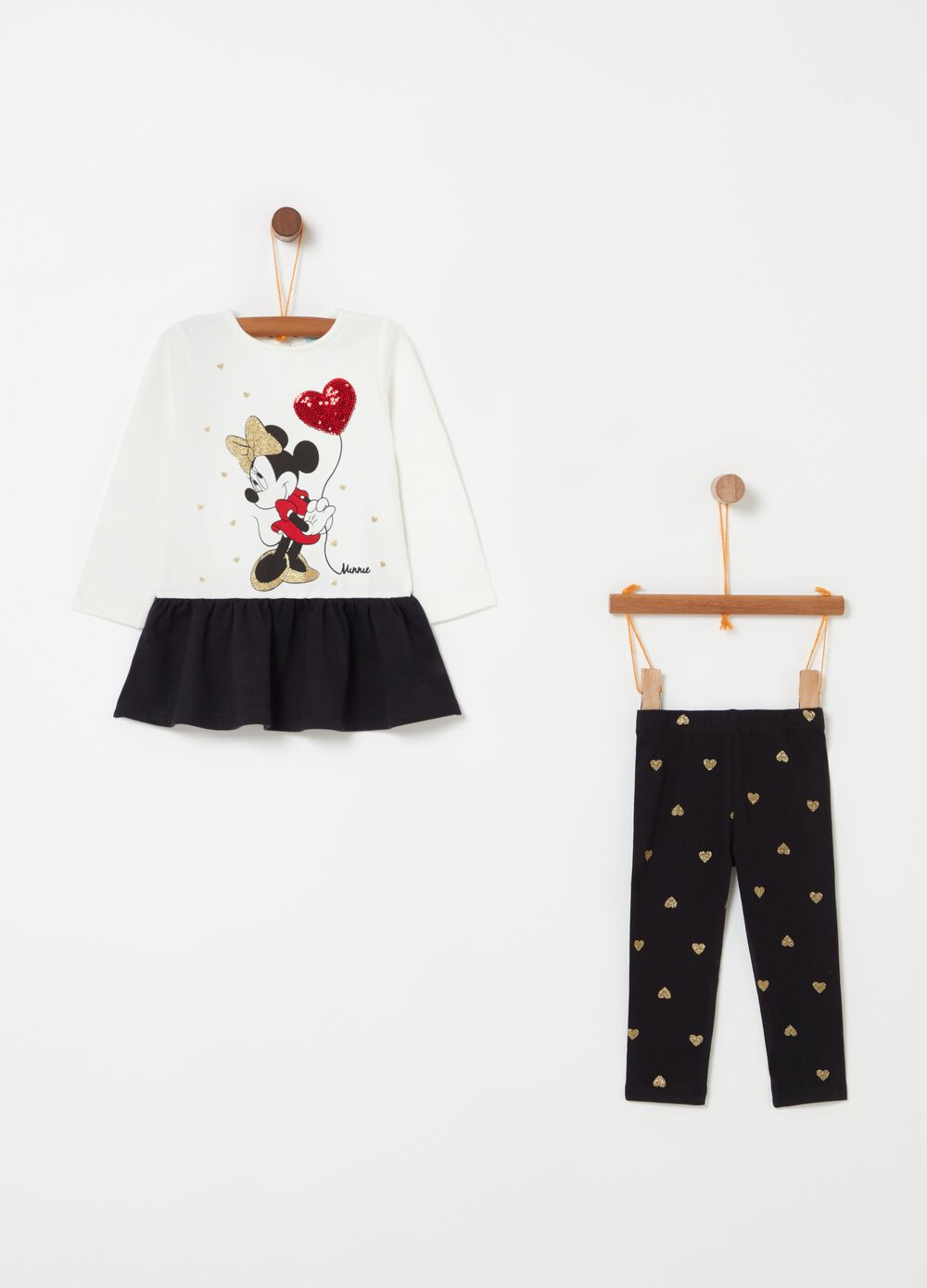 Disney Minnie Mouse outfit with dress and leggings