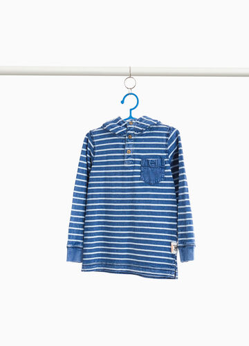 Striped cotton T-shirt with hood