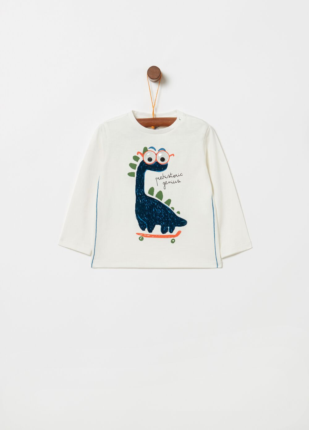 100% organic cotton T-shirt with dinosaur print