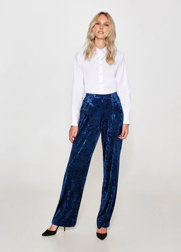 Stretch velvet palazzo trousers