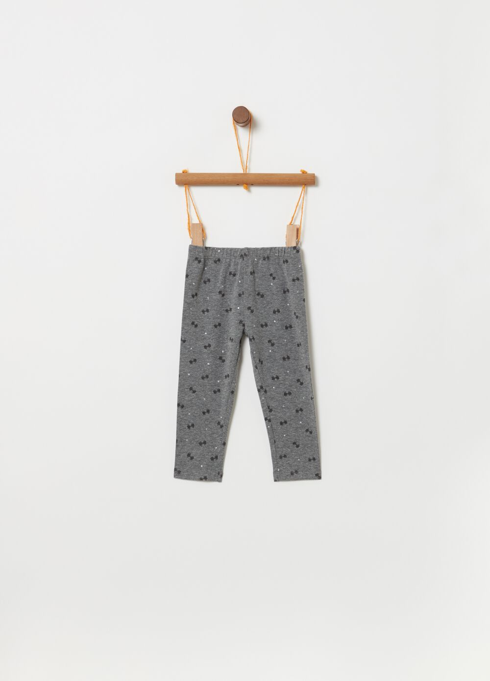 Stretch mélange leggings with pattern