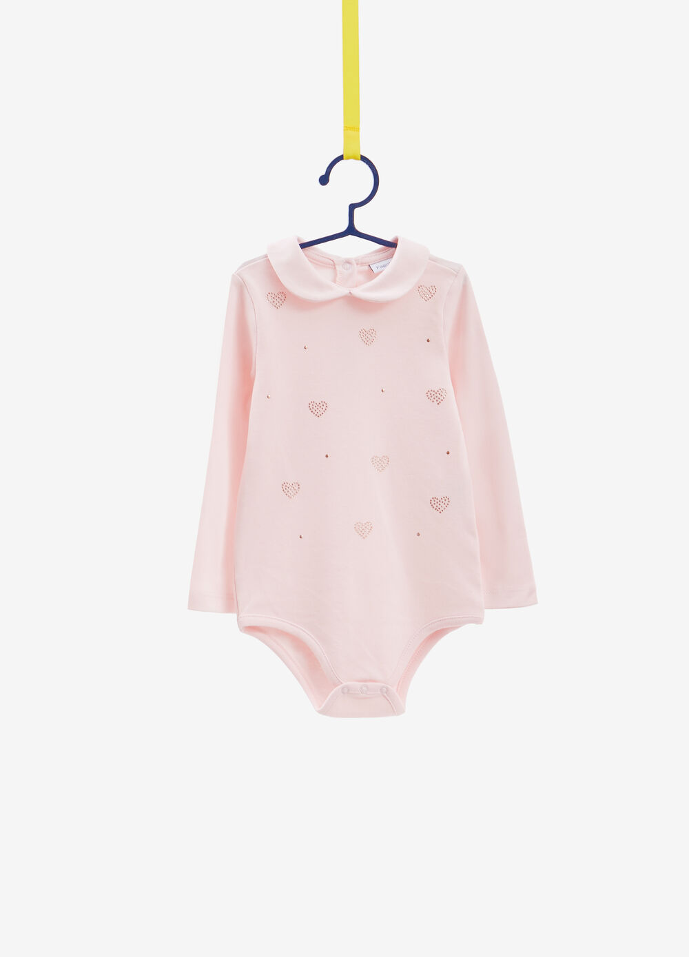 100% cotton bodysuit with heart-shaped diamantés and studs