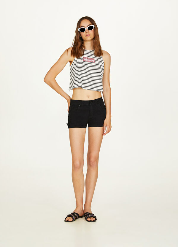 Cotton and modal crop top with print