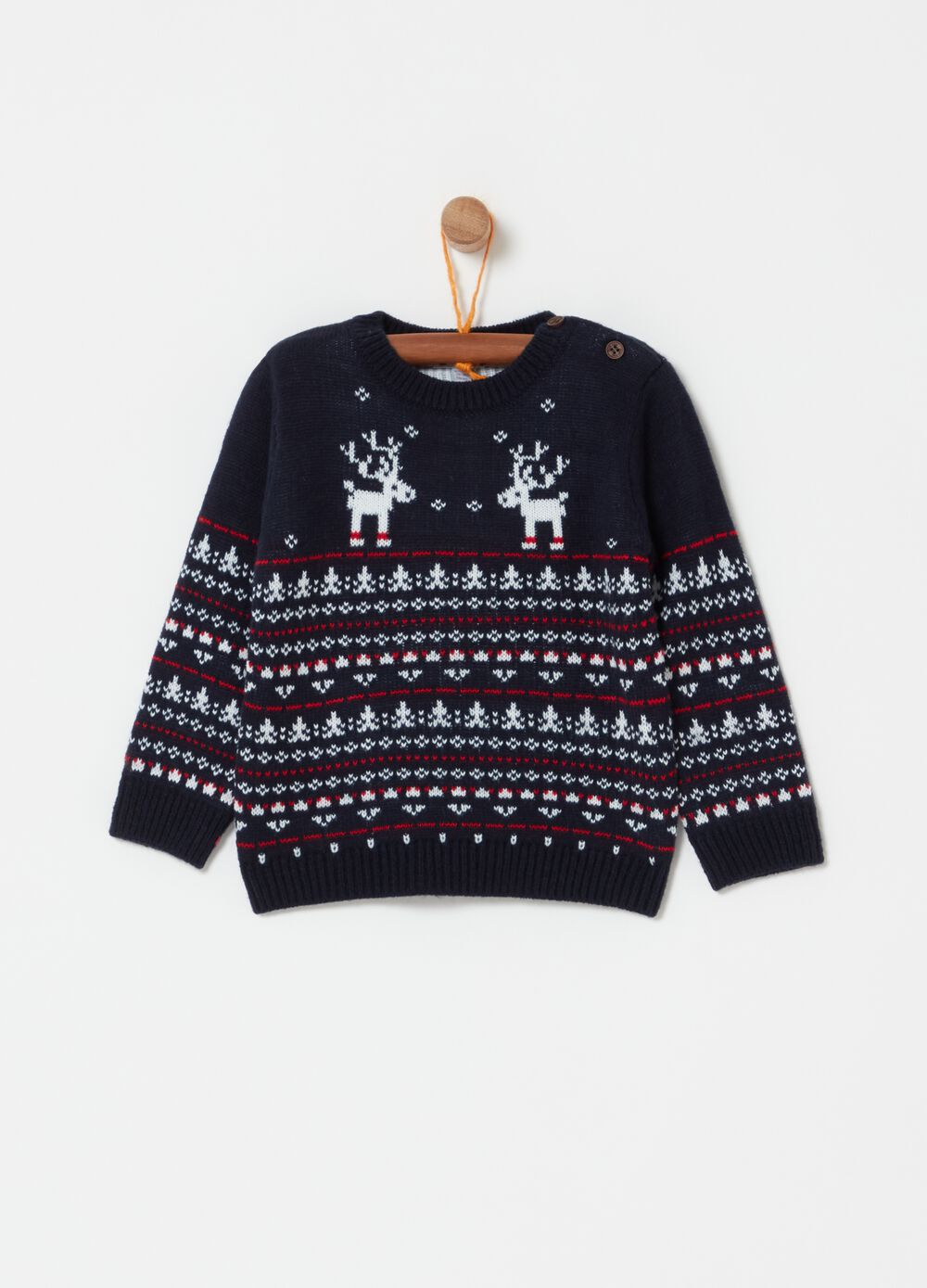 Pullover with crew neck and reindeer pattern