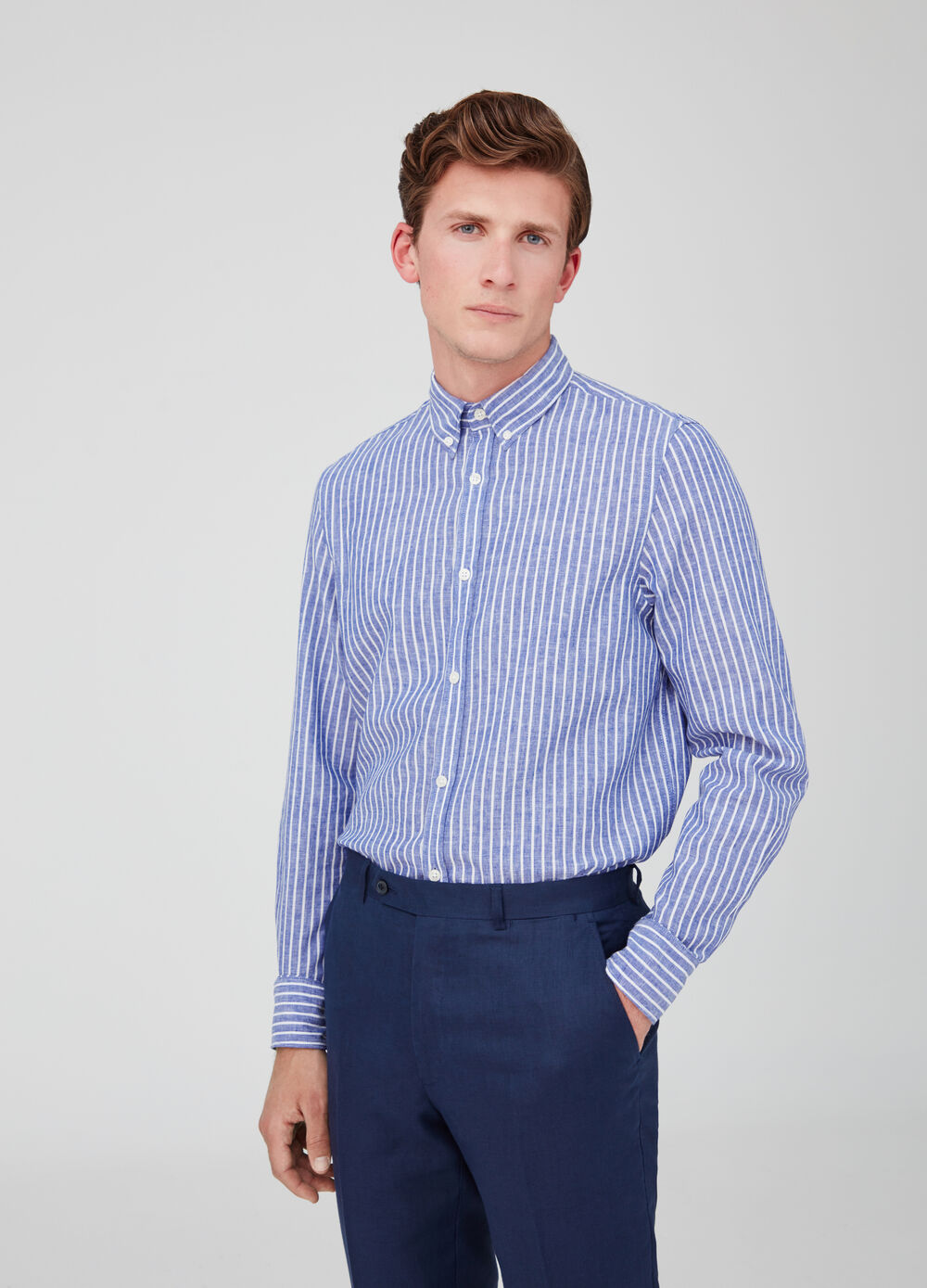 Regular-fit shirt in cotton and linen blend