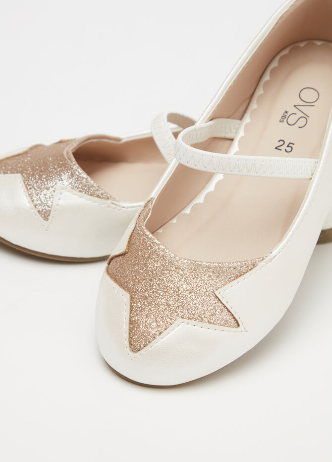 Ballerina flats with strap and glitter insert