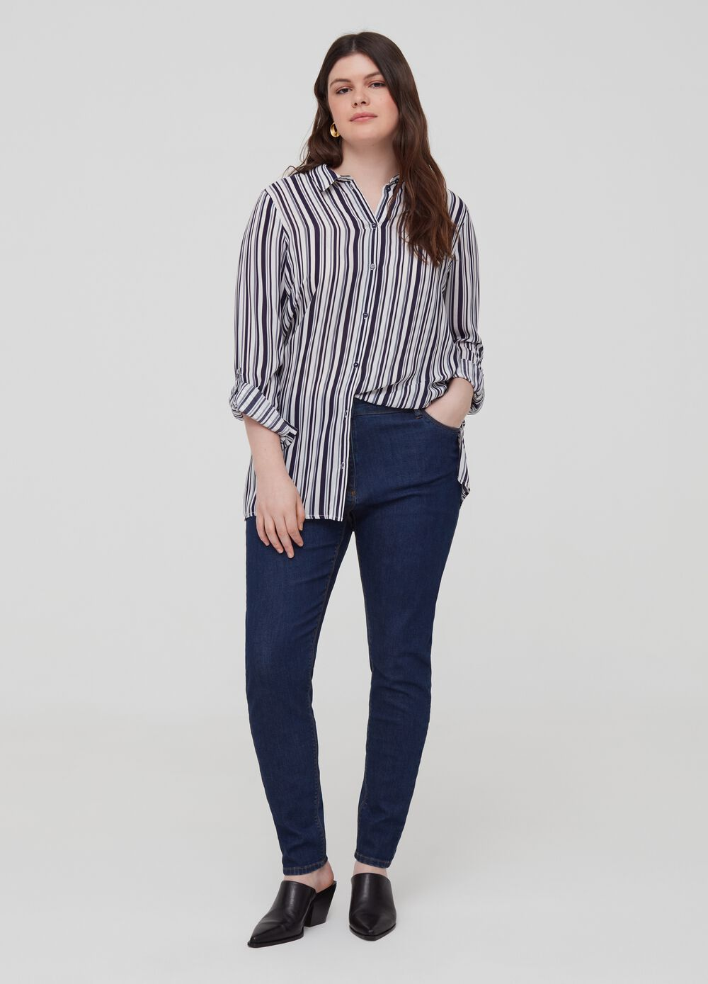 Curvy solid colour stretch jeans