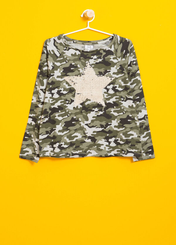 Camo stretch T-shirt with sequins | OVS