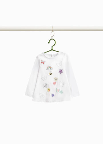 T-shirt with embroidered patches and sequins