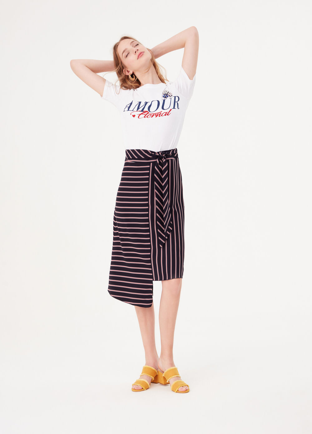 Stretch striped asymmetrical skirt