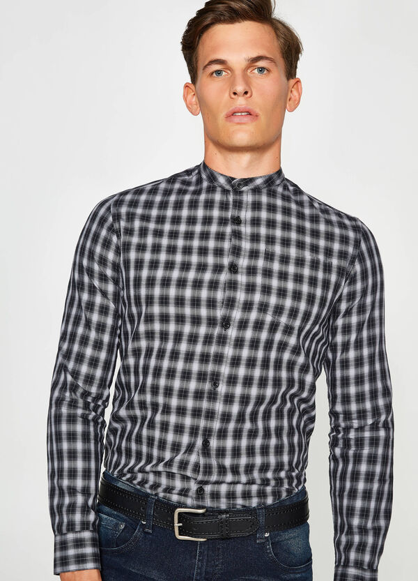 Camicia casual colletto coreano tartan