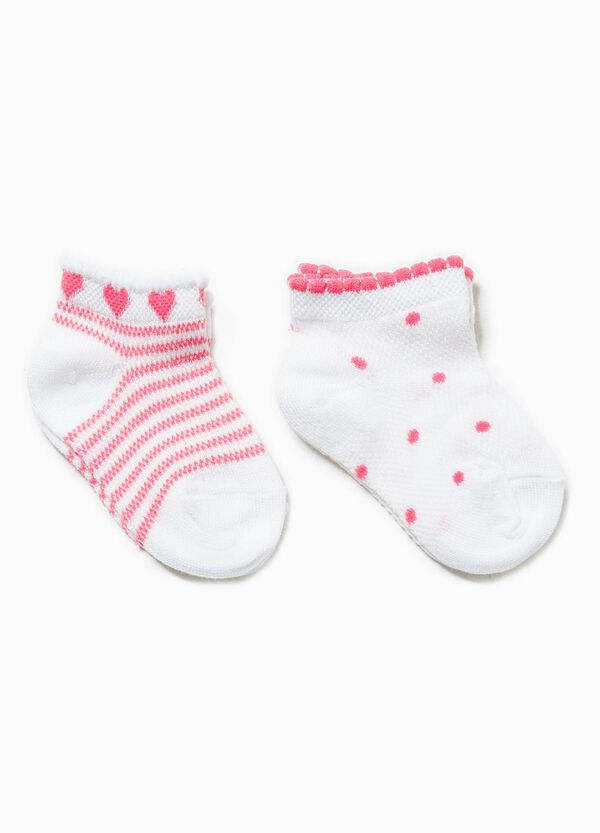 Two-pair pack striped and polka dot socks