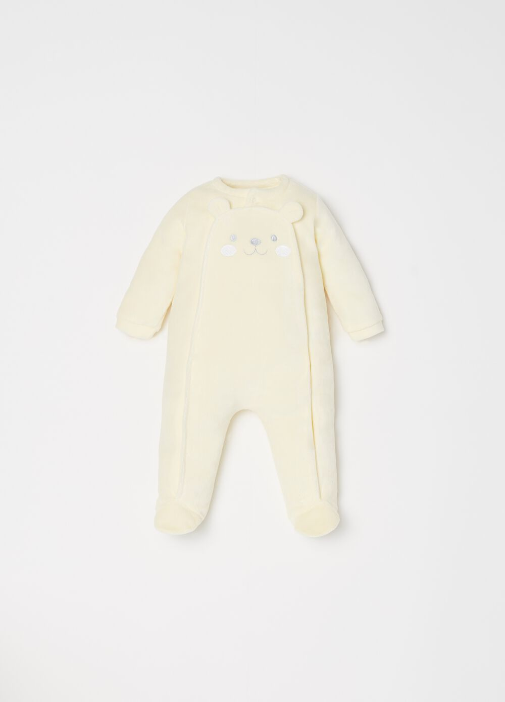 Onesie with feet, embroidery and buttons
