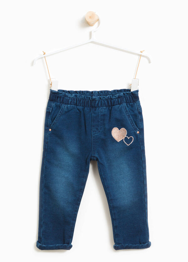 Stretch jeans with hearts embroidery | OVS