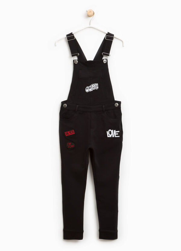 Cotton dungarees with patches | OVS