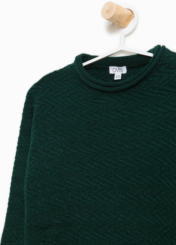 Knit pullover with rolled neckline