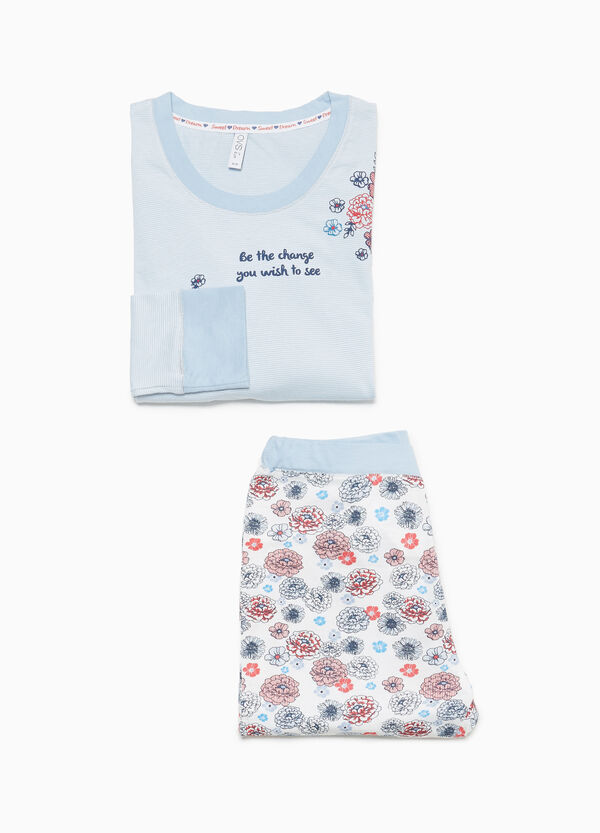 100% cotton floral and striped pyjamas