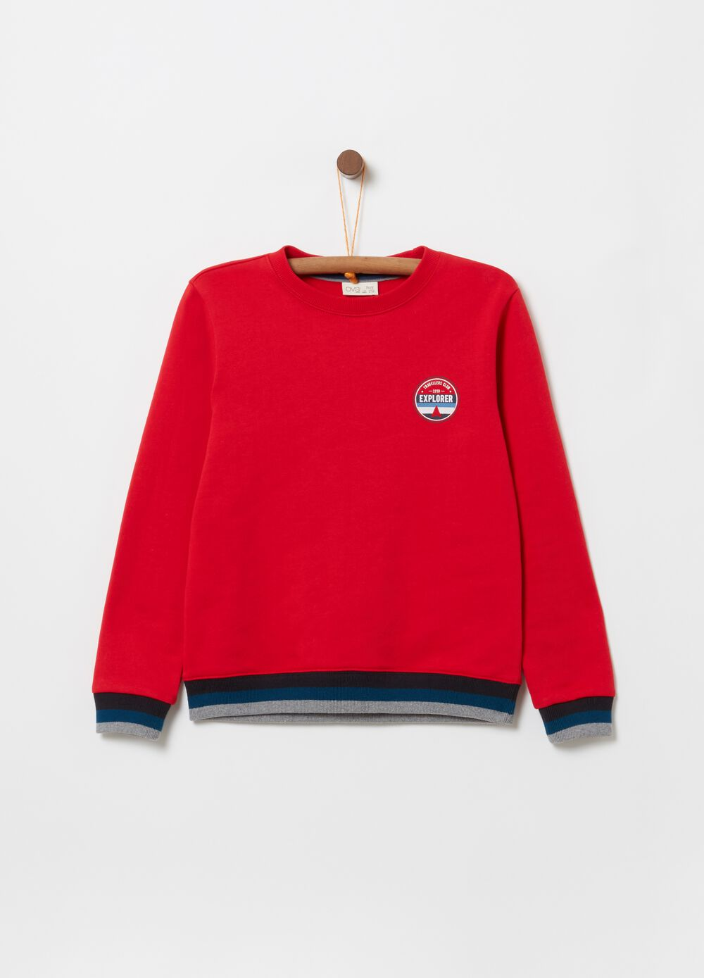 Crew neck sweatshirt with striped ribbing and print