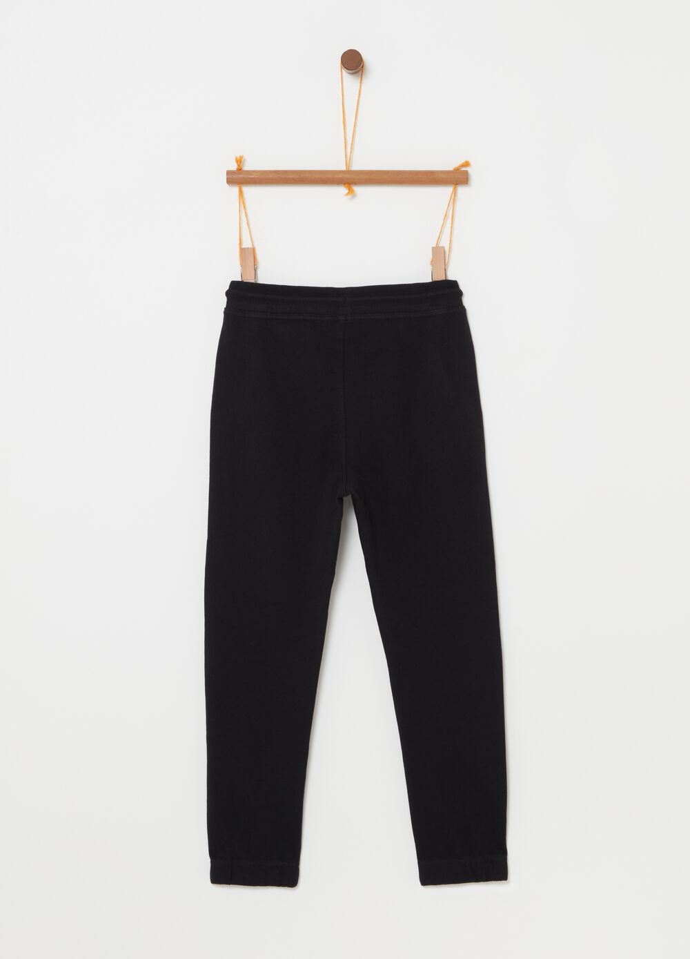 Trousers with elasticated waist and drawstring