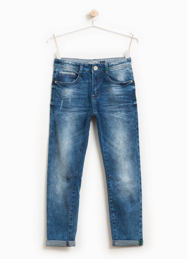 Slim-fit worn-effect jeans with whiskering