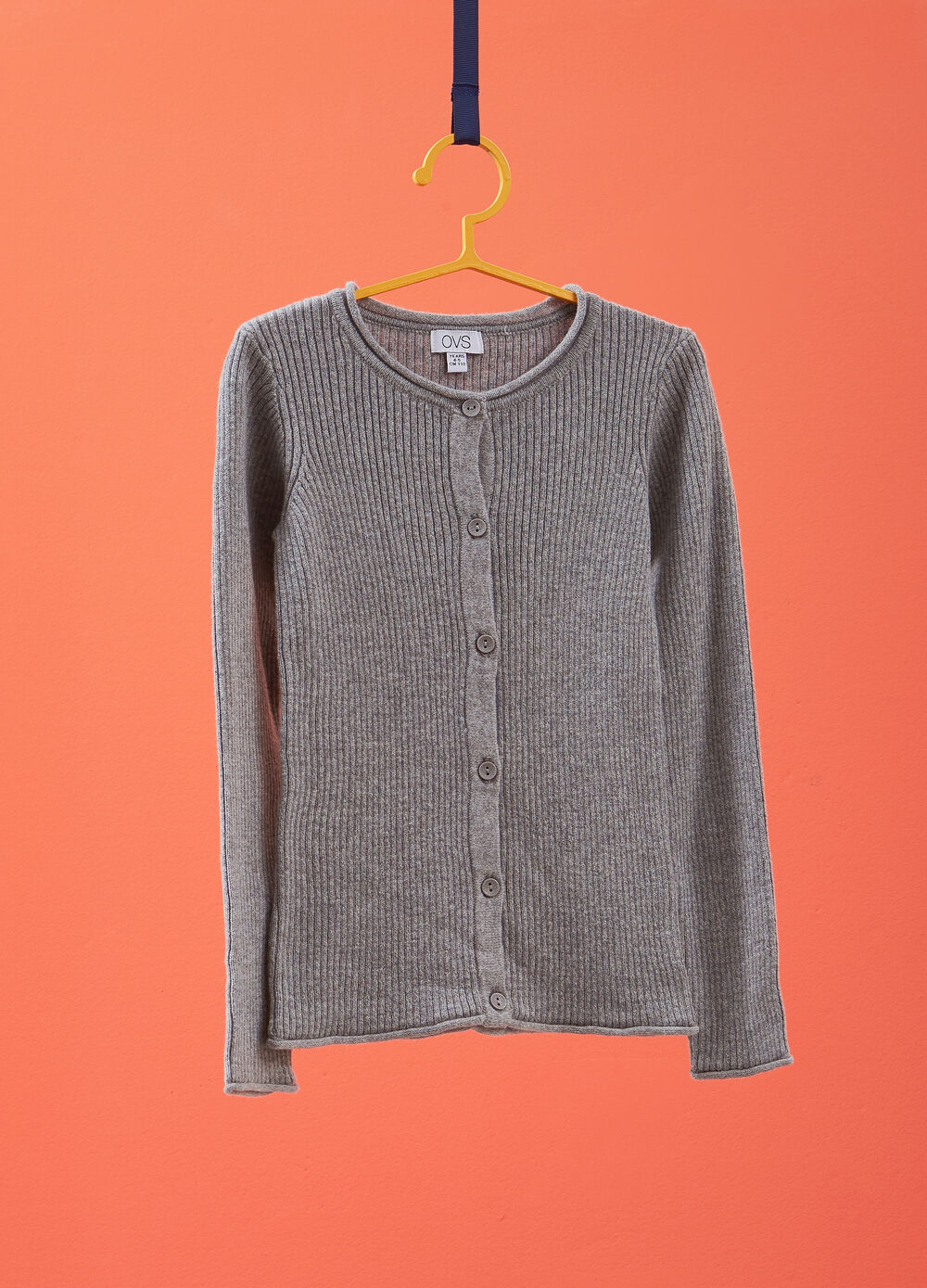 Cashmere and cotton cardigan with striped weave