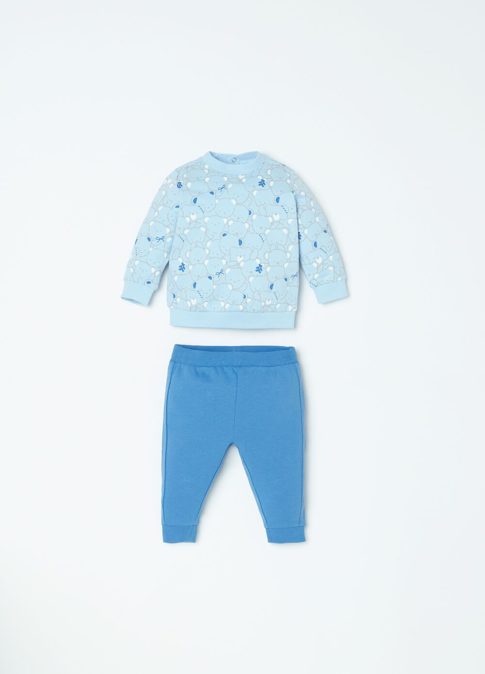 Sweatshirt and trousers set with teddy bear pattern